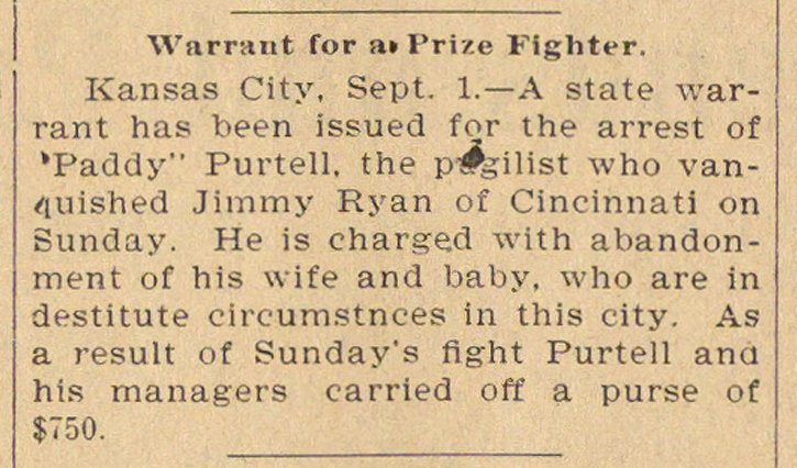Warrant For A Prize Fighter image