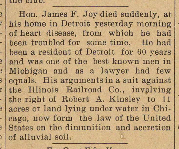 Hou. James F. Joy died suddenly, at his ... image
