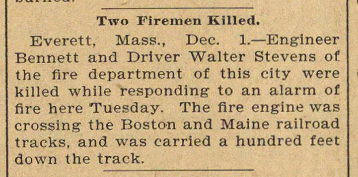 Two Firemen Killed image