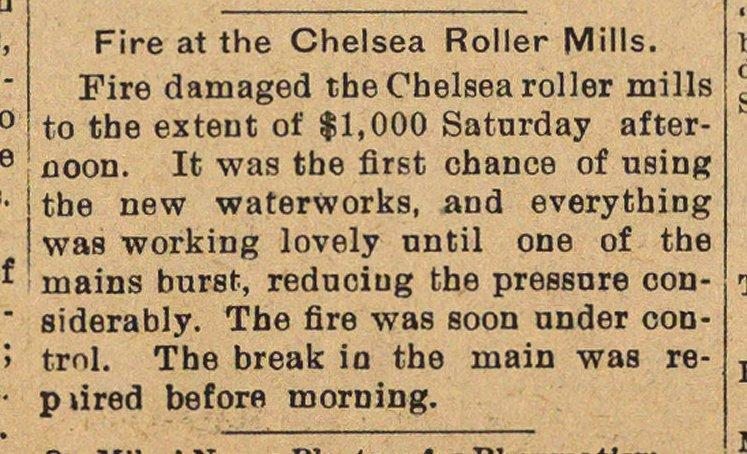 Fire At The Chelsea Roller Mills image