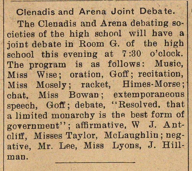 Clenadis And Arena Joint Debate image