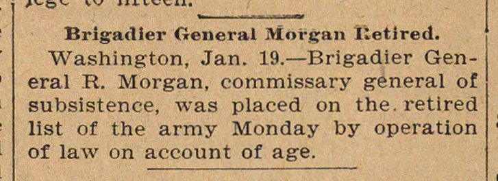Brigadier General Morgan Retired image