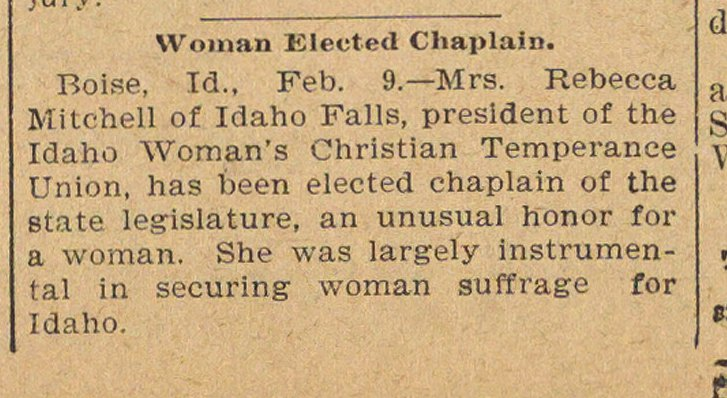 Woman Elected Chaplain image