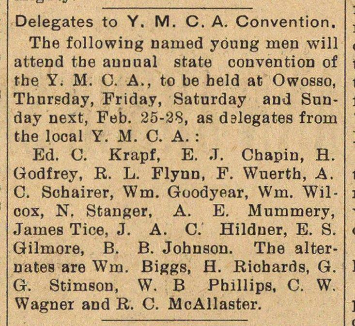 Delegates To Y. M. C. A. Convention image