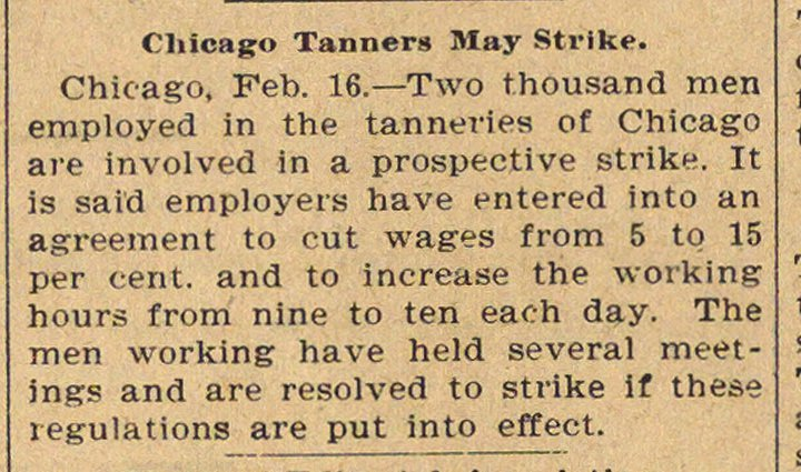Chicago Tanners May Strike image