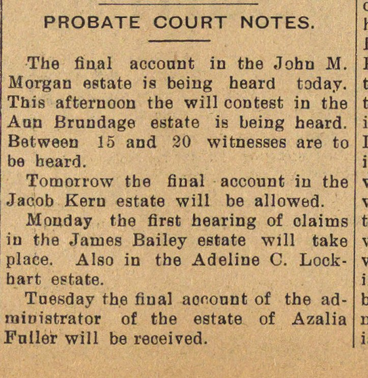 Probate Court Notes image