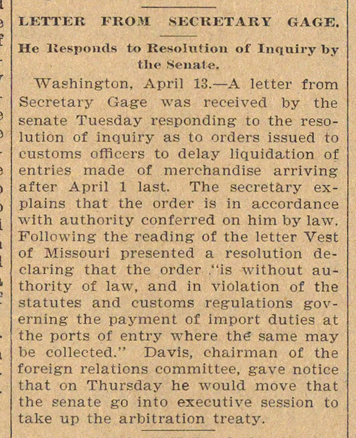 Letter From Secretary Gage image