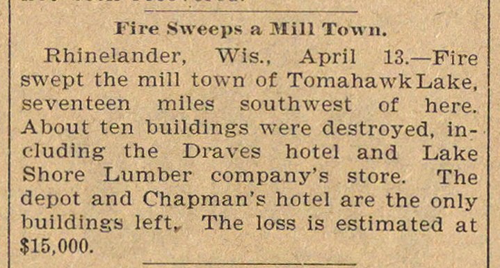 Fire Sweeps A Mill Town image