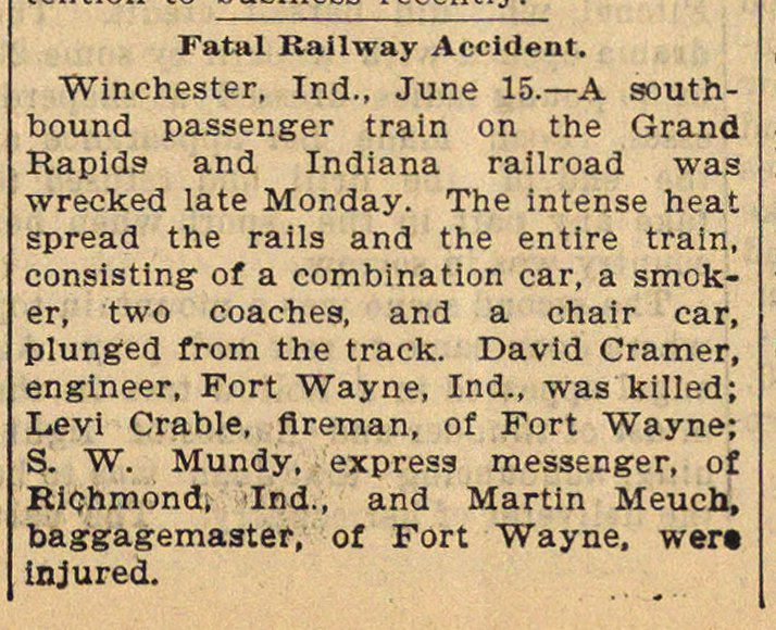 Fatal Railway Accident image