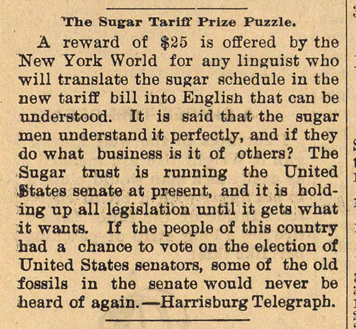 The Sugar Tariff Prize Puzzle image