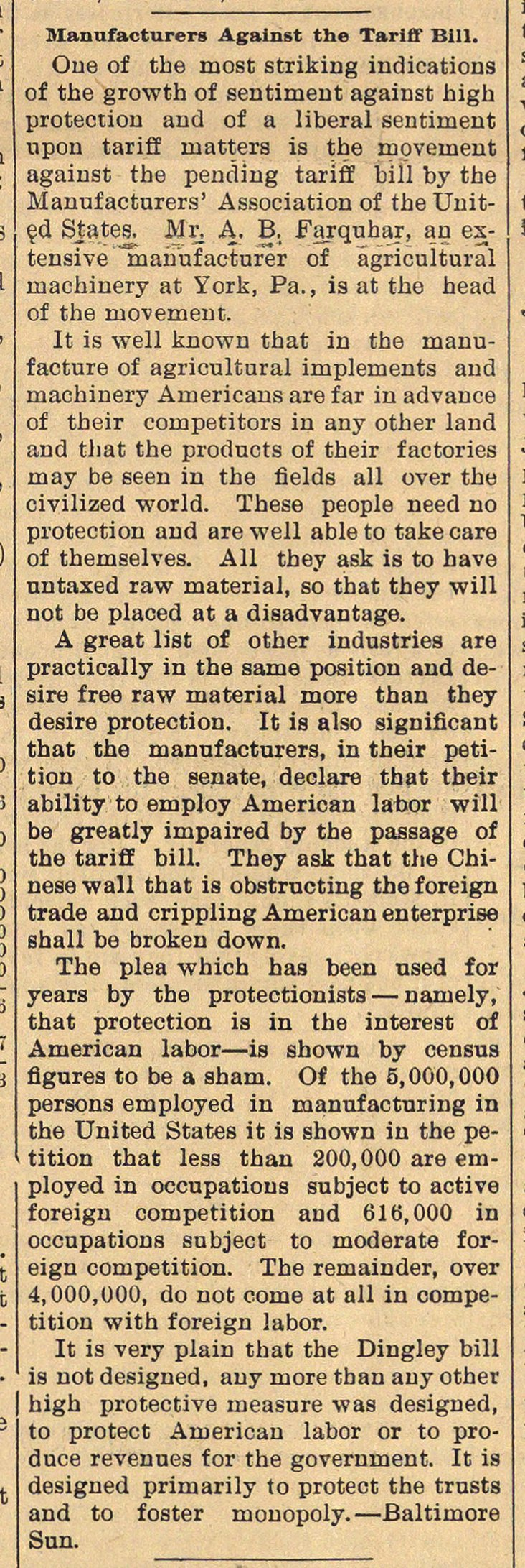 Manufacturers Against The Tariff Bill image