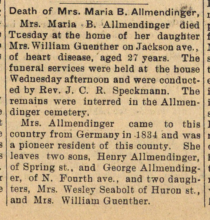 Death Of Mrs. Maria B. Allmendinger image