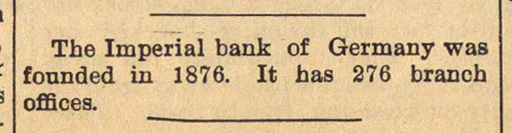 The Imperial bank of Germany was founded... image