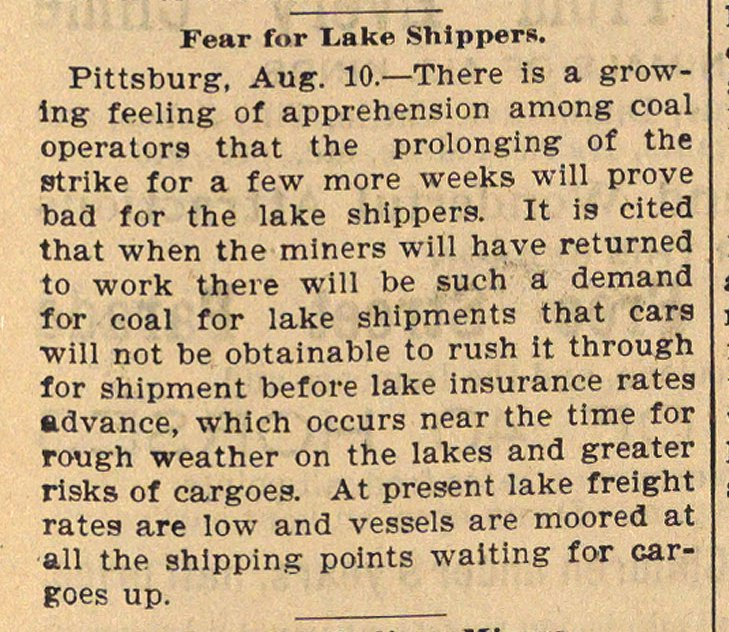 Fear For Lake Shippers image