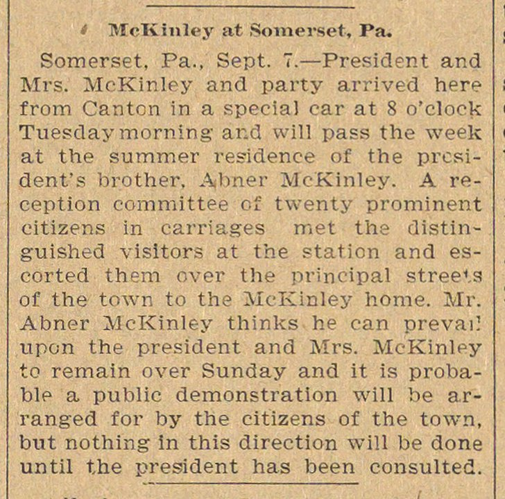Mckinley At Somerset, Pa. image