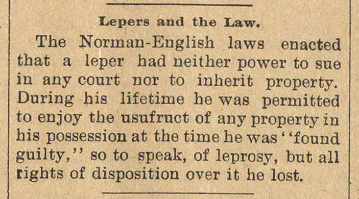 Lepers And The Law image