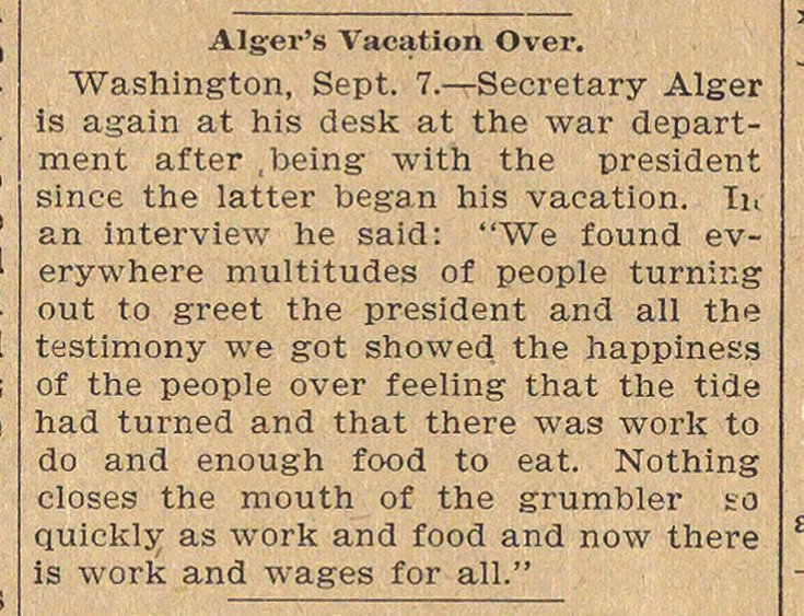 Alger's Vacation Over image