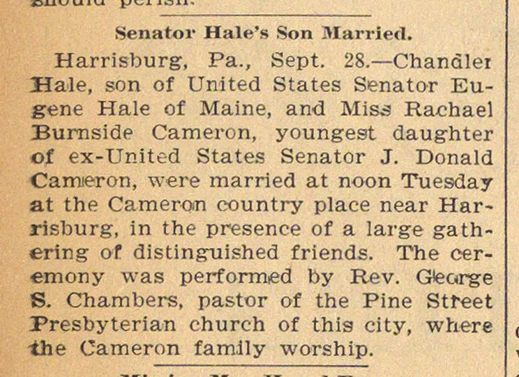 Senator Hale's Son Married image