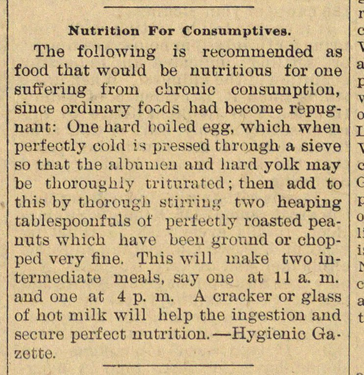 Nutrition For Consumptives image