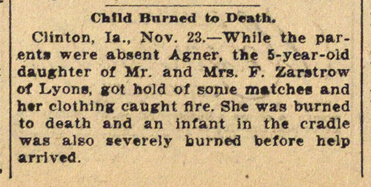 Child Burned To Death image