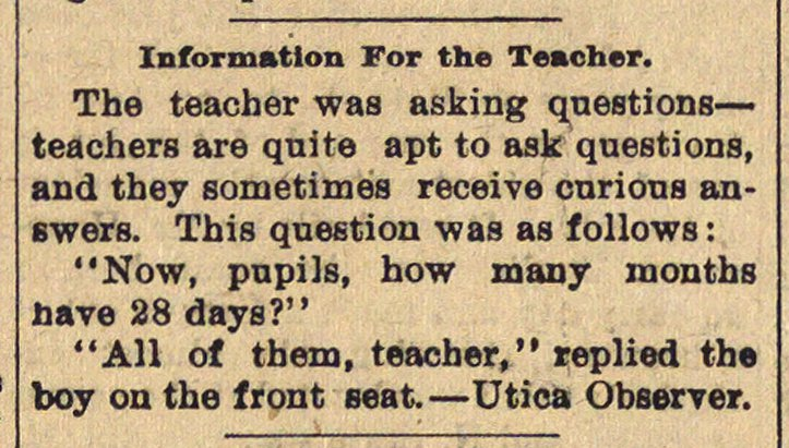 Information For The Teacher image