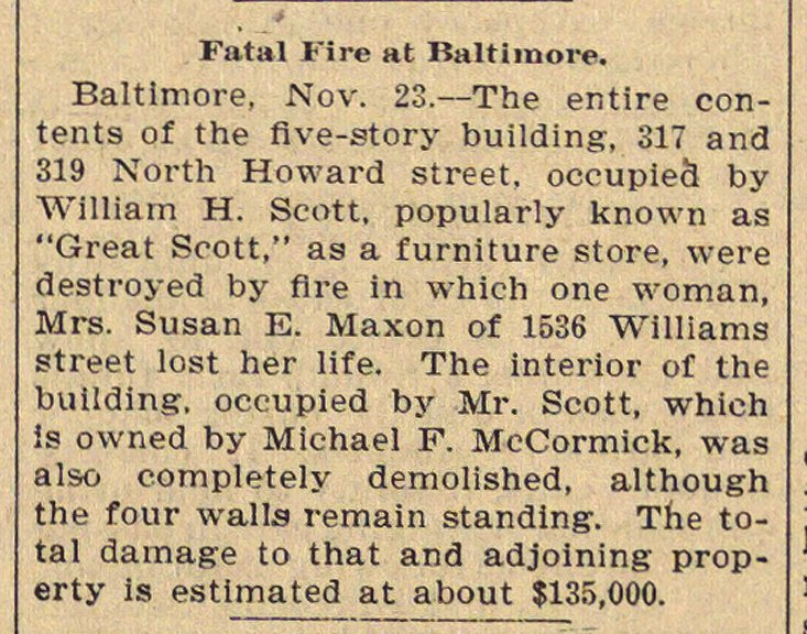 Fatal Fire At Baltimore image