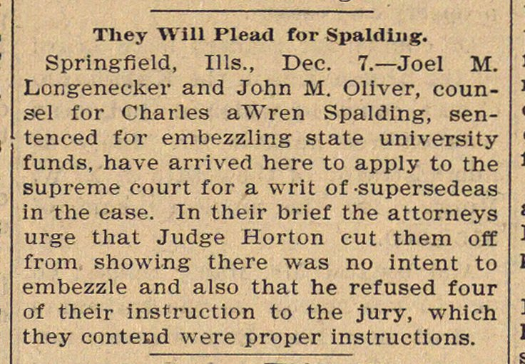 They Will Plead For Spalding image