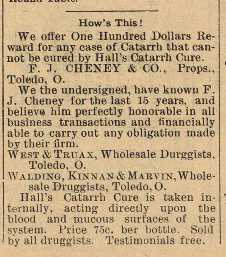 Classified Ad: Hall's Catarrh Cure image