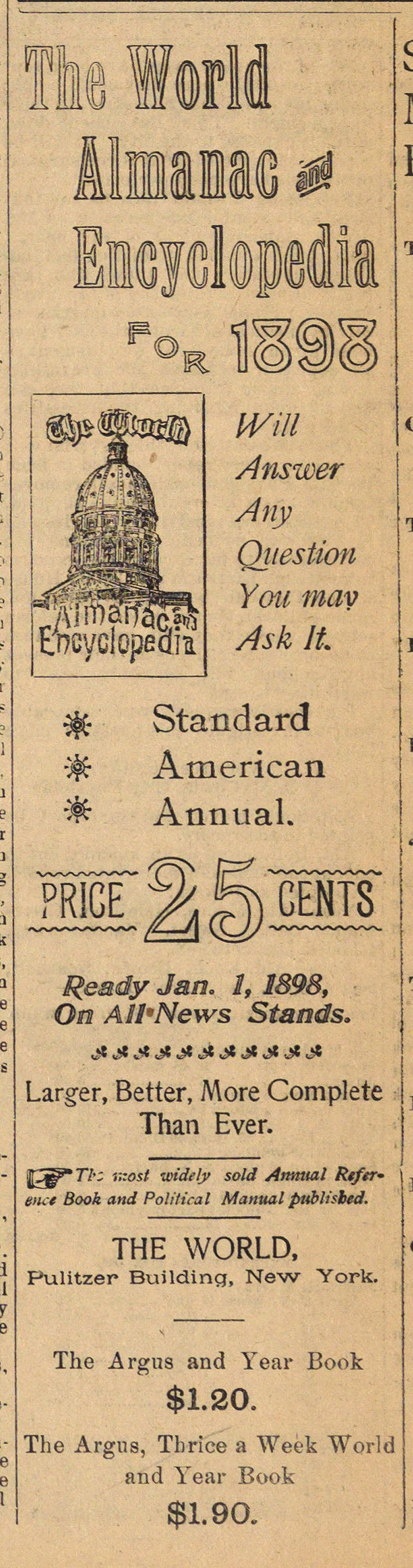Classified Ad: The World Almanac and Encyclopedia for 1898 image