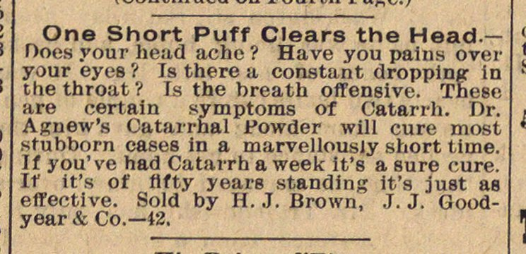Classified Ad: Dr. Agnew's Catarrhal Powder image