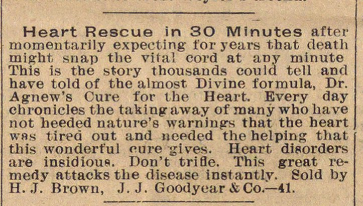 Classified Ad: Dr. Agnew's Cure for the Heart image