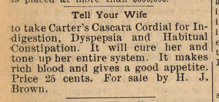 Classified Ad: Carter's Cascara Cordial image