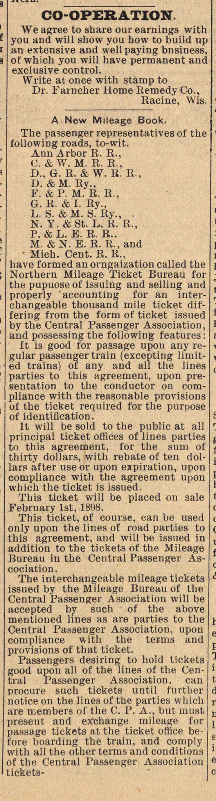 Classified Ads: Dr. Farncher Home Remedy Co. & Northern Mileage Ticket Bureau image