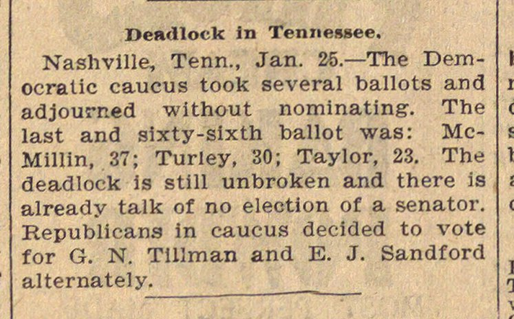 Deadlock In Tennessee image