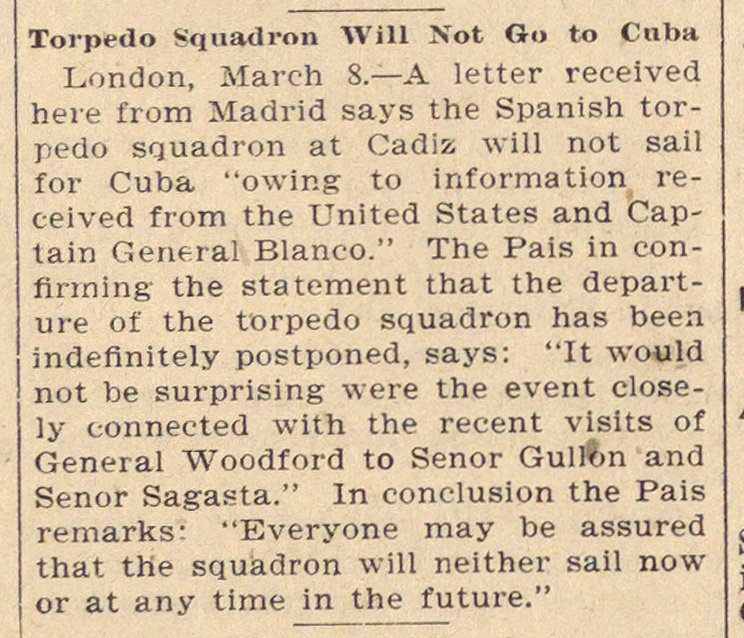 Torpedo Squadron Will Not Go To Cuba image