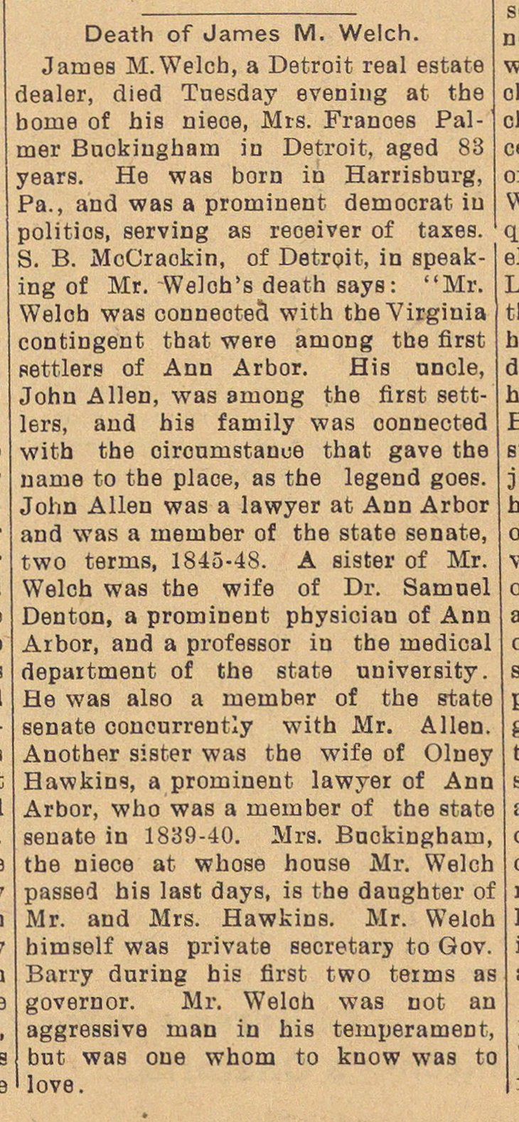 Death Of James M. Welch image