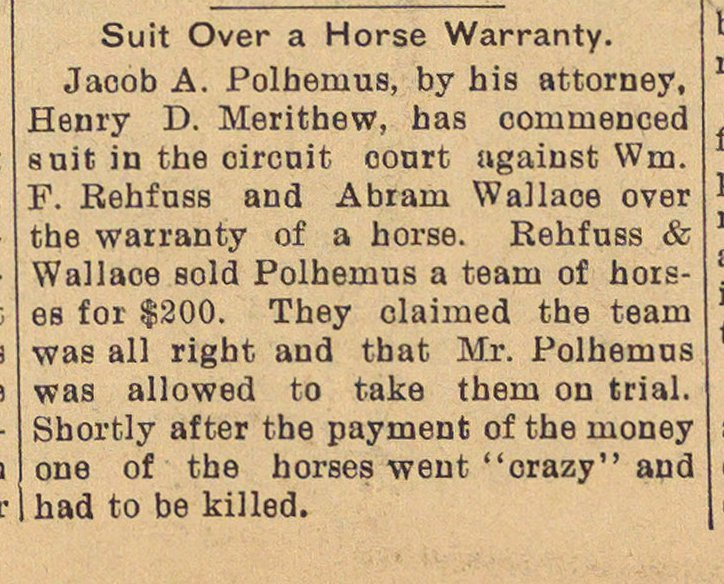Suit Over A Horse Warranty image