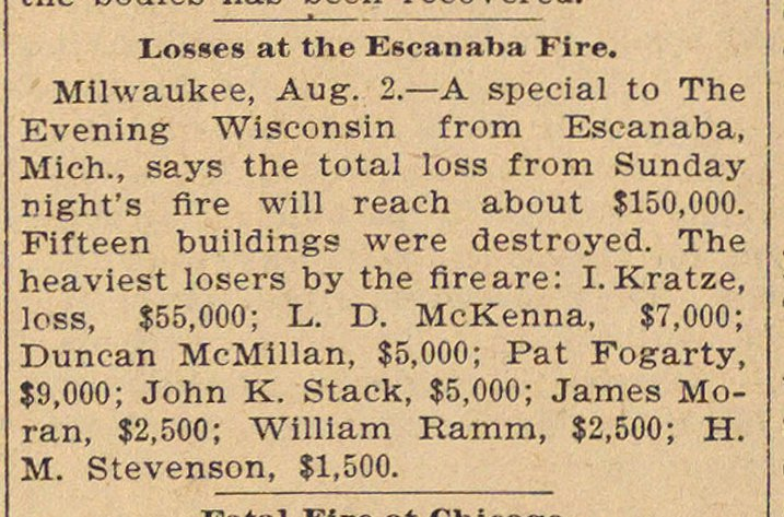Losses At The Escanaba Fire image