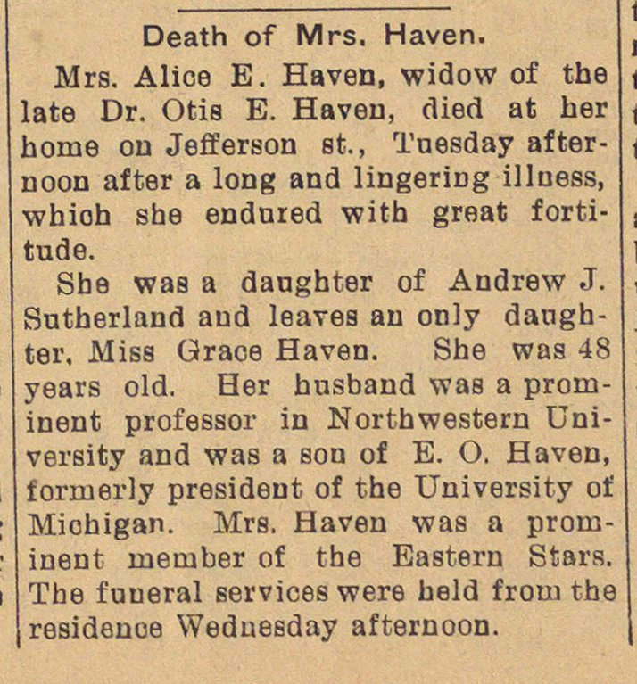 Death Of Mrs. Haven image