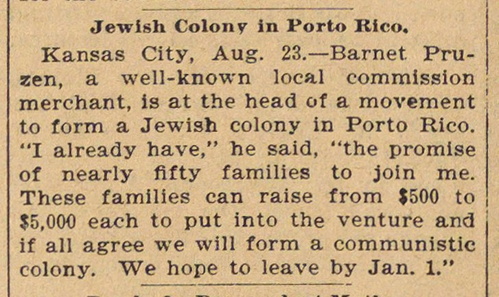 Jewish Colony In Porto Rico image