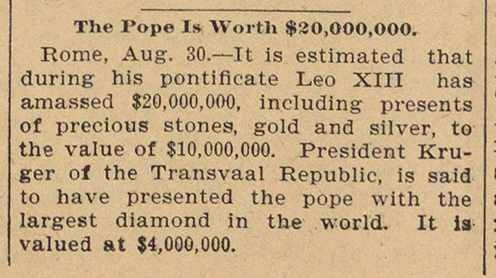 The Pope Is Worth $20,000,000 image