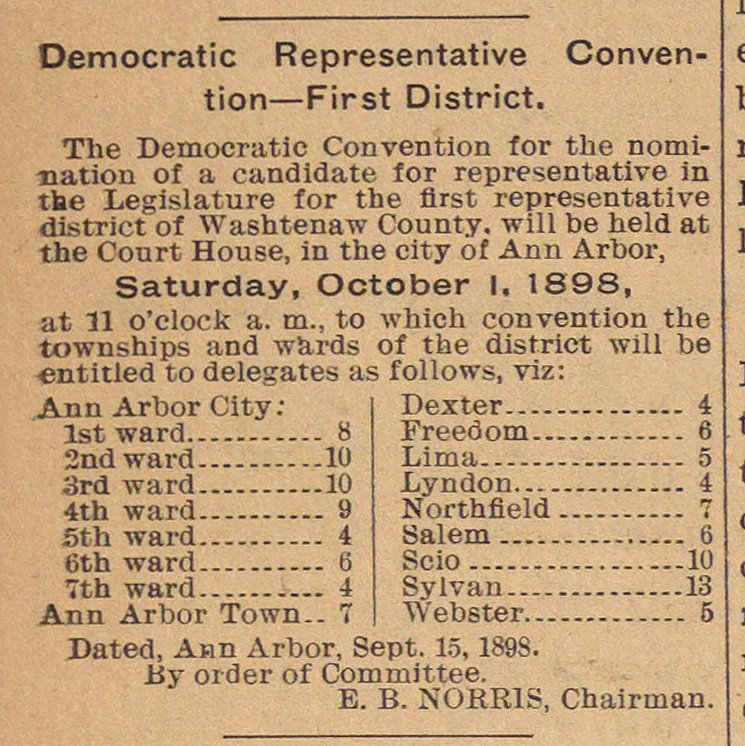 Democratic Representative Convention--first District image