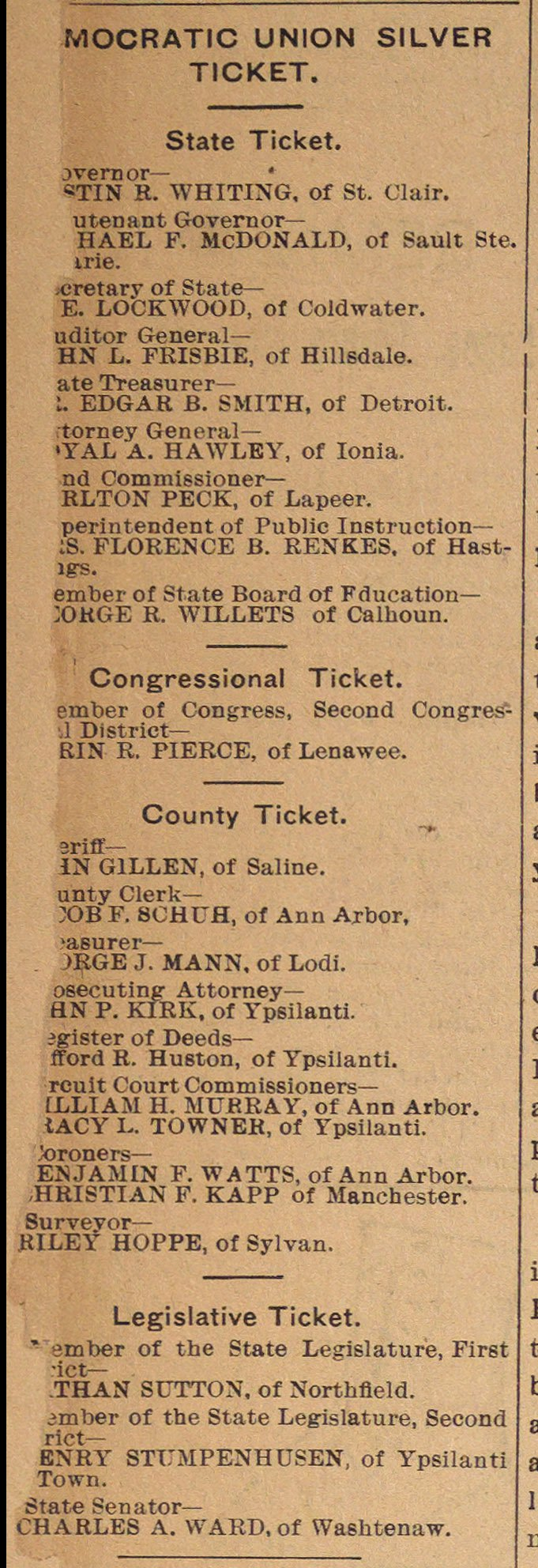 Democratic Union Silver Ticket image