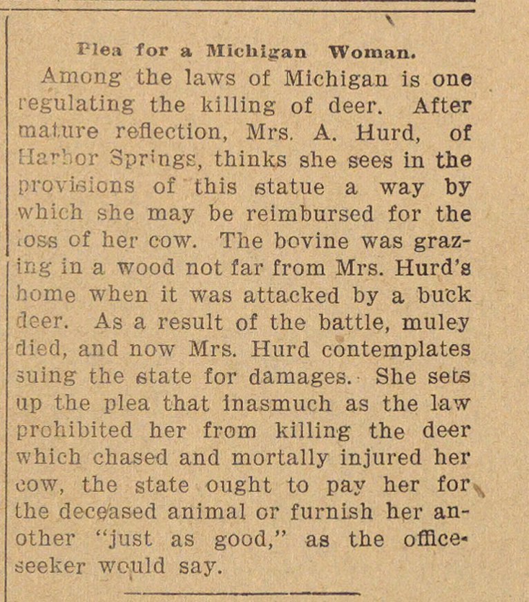 Plea For A Michigan Woman image