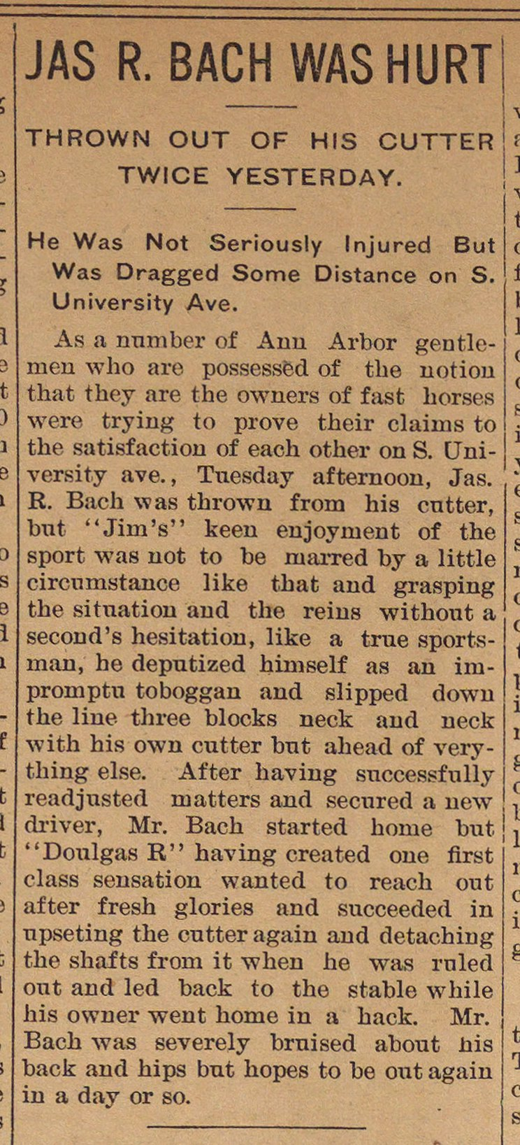 Jas R. Bach Was Hurt image