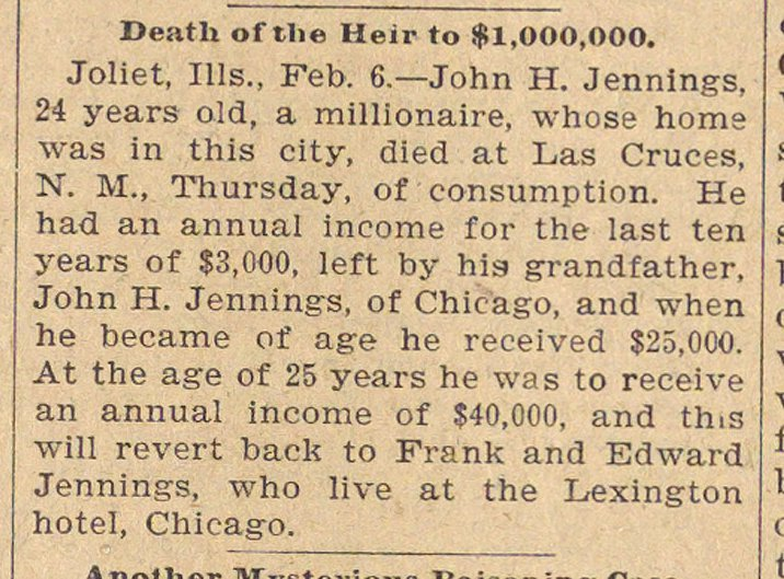 Death Of The Heir To $1,000,000 image