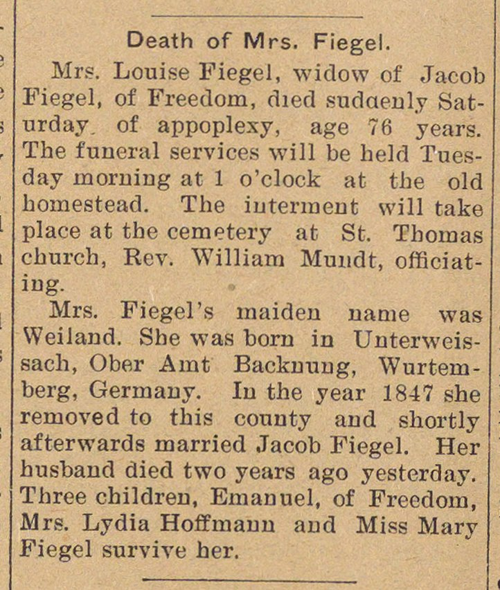 Death Of Mrs. Fiegel image