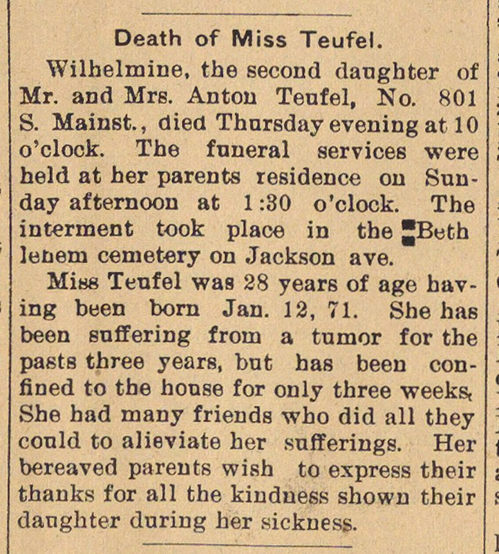 Death Of Miss Teufel. image