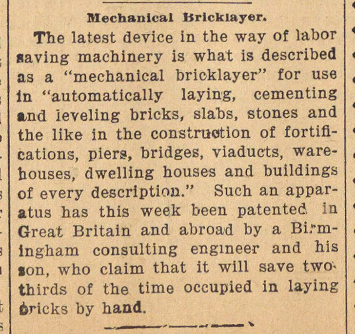 Mechanical Bricklayer image