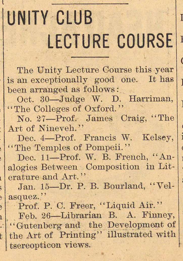 Unity Club Lecture Course image